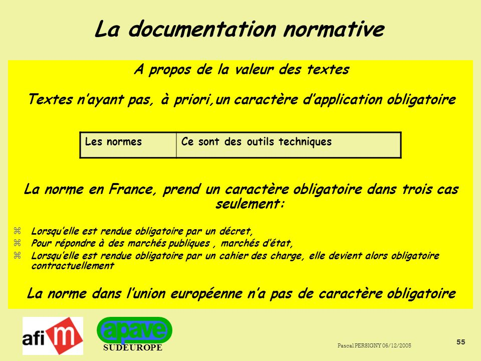 La documentation normative