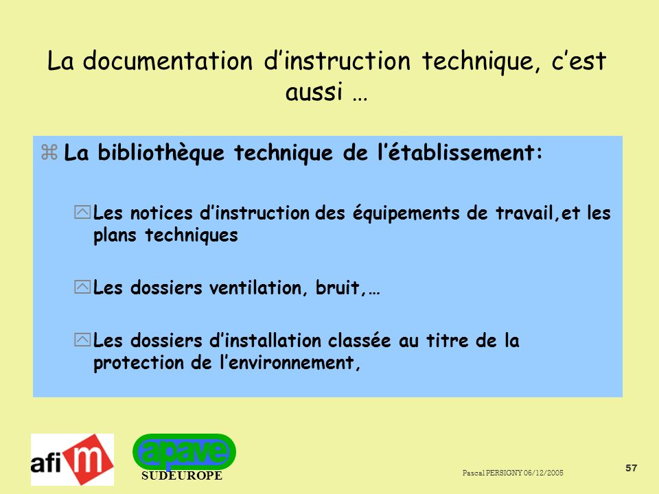 La documentation d'instruction technique, c'est aussi …