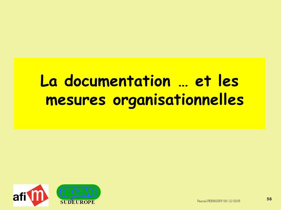 La documentation … et les mesures organisationnelles