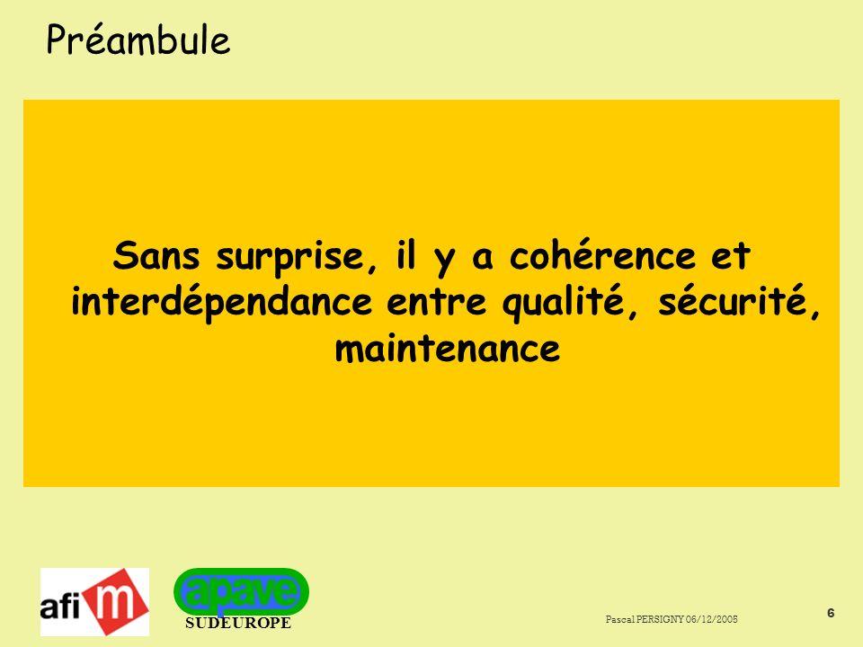 Préambule Sans surprise, il y a cohérence et interdépendance entre qualité, sécurité, maintenance.