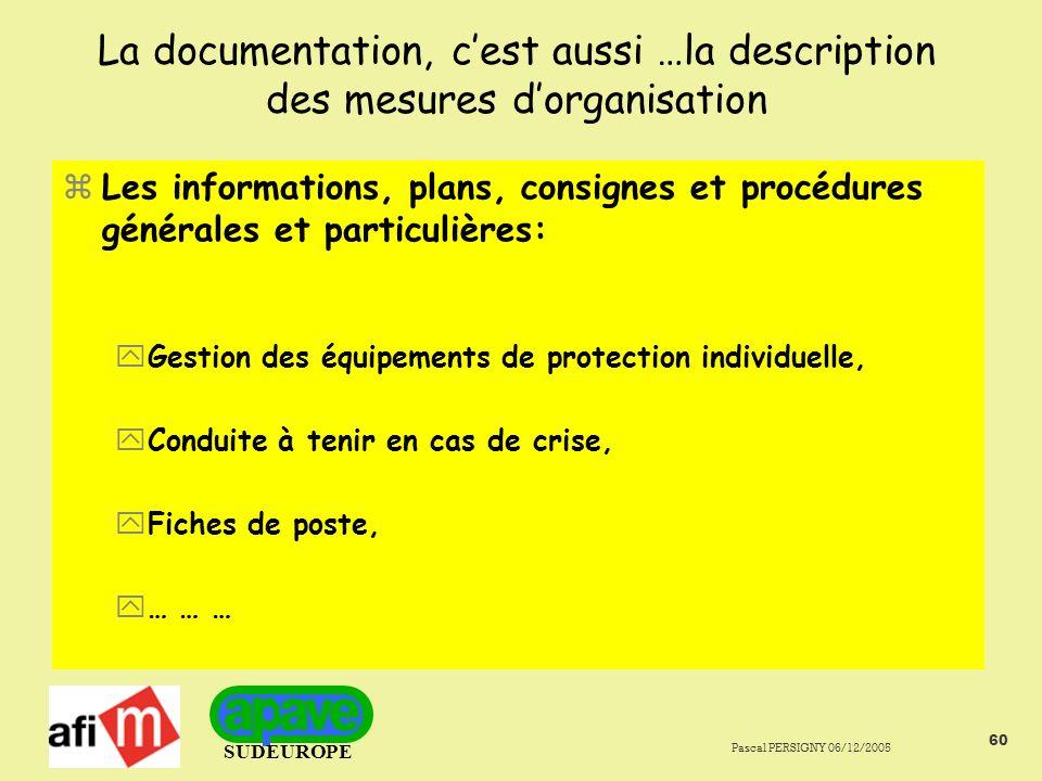 La documentation, c'est aussi …la description des mesures d'organisation