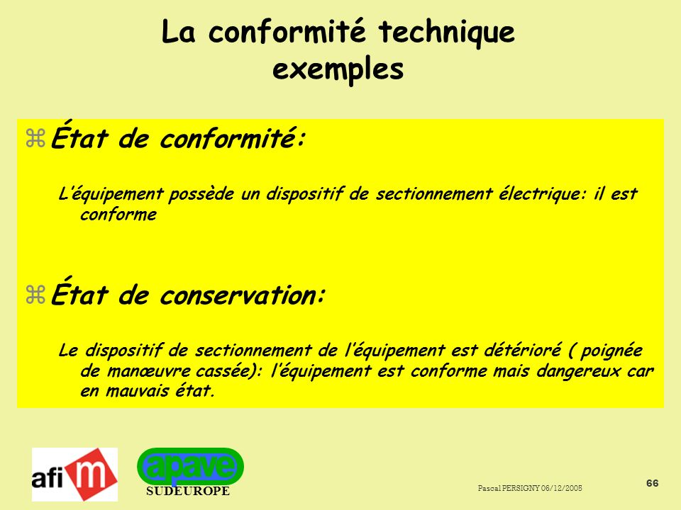 La conformité technique exemples