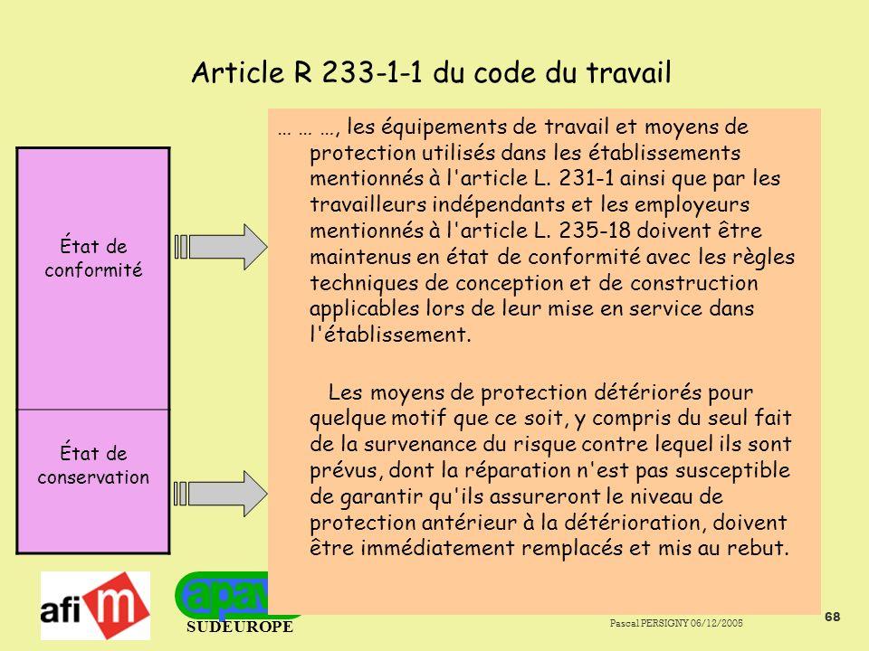 Article R 233-1-1 du code du travail