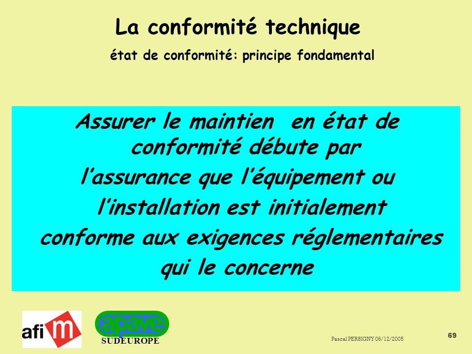 La conformité technique état de conformité: principe fondamental