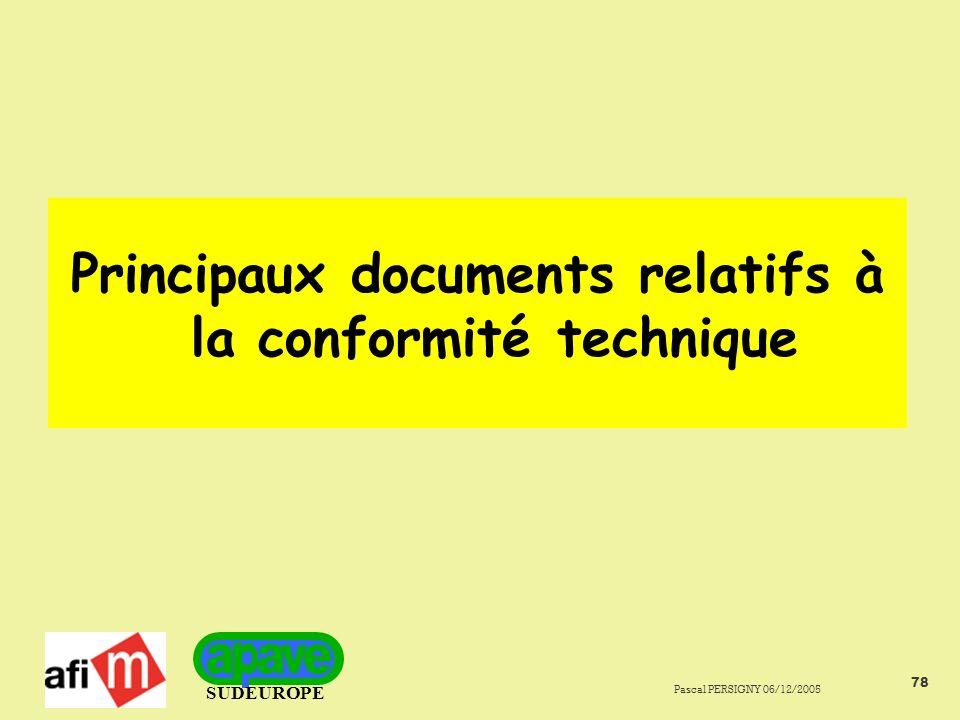 Principaux documents relatifs à la conformité technique