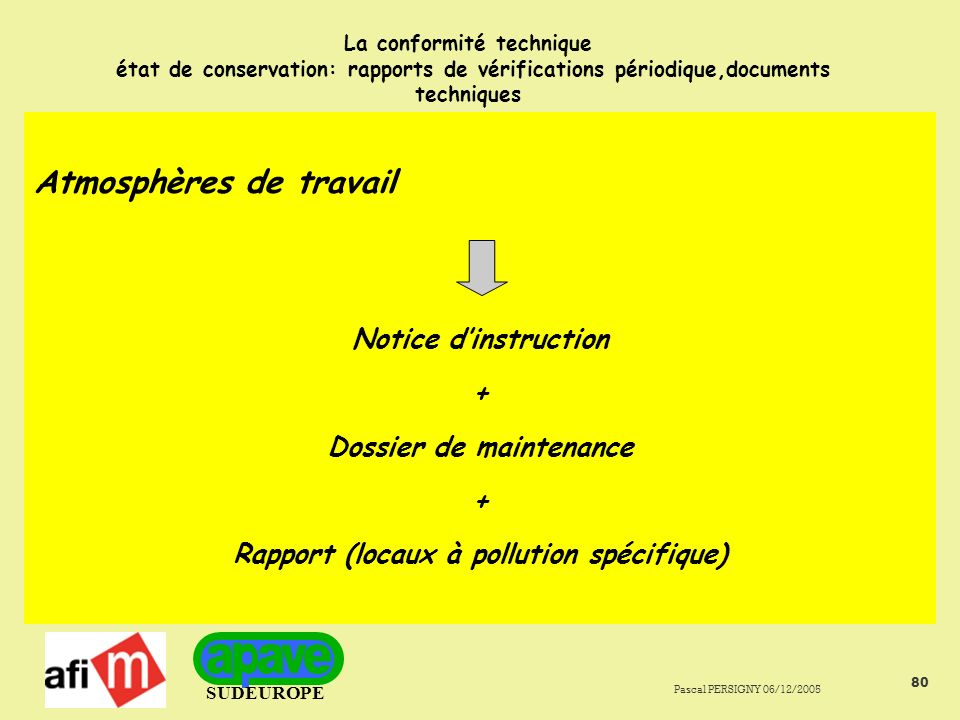 Dossier de maintenance Rapport (locaux à pollution spécifique)