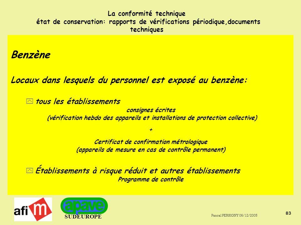 Benzène Locaux dans lesquels du personnel est exposé au benzène: