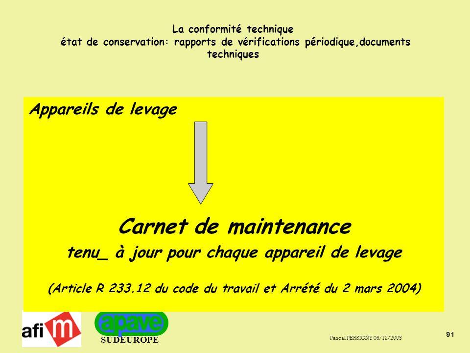 Carnet de maintenance Appareils de levage