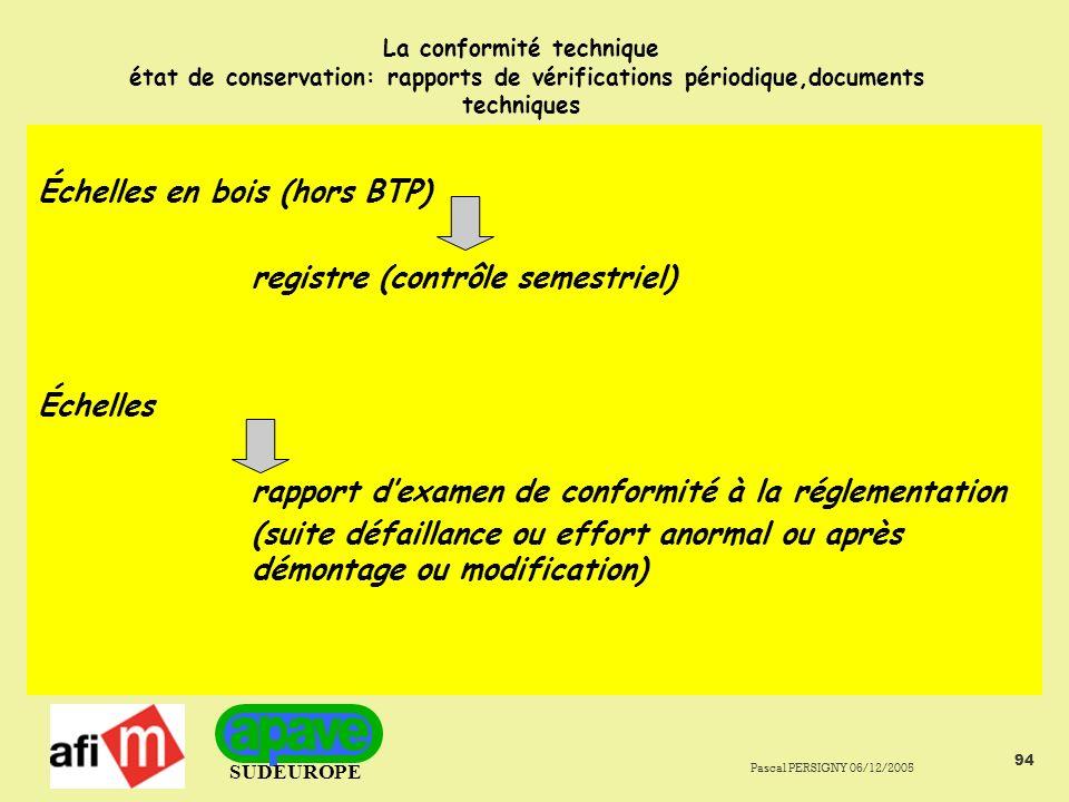 Échelles en bois (hors BTP) registre (contrôle semestriel)