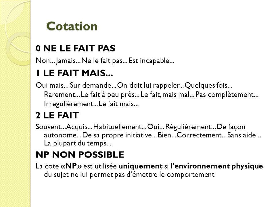 Cotation 0 NE LE FAIT PAS 1 LE FAIT MAIS... 2 LE FAIT NP NON POSSIBLE