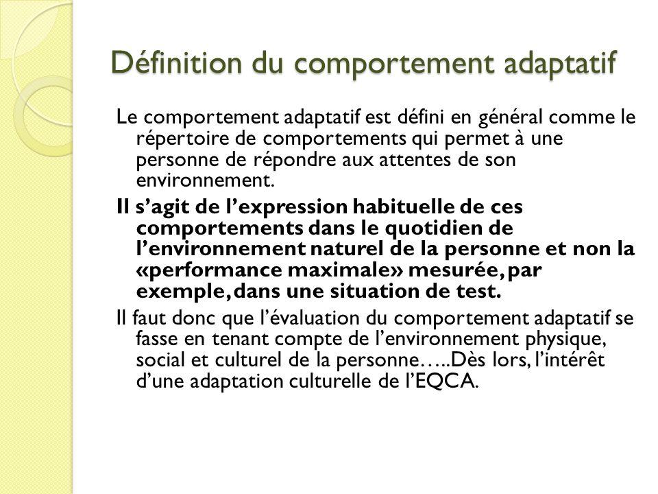 Définition du comportement adaptatif