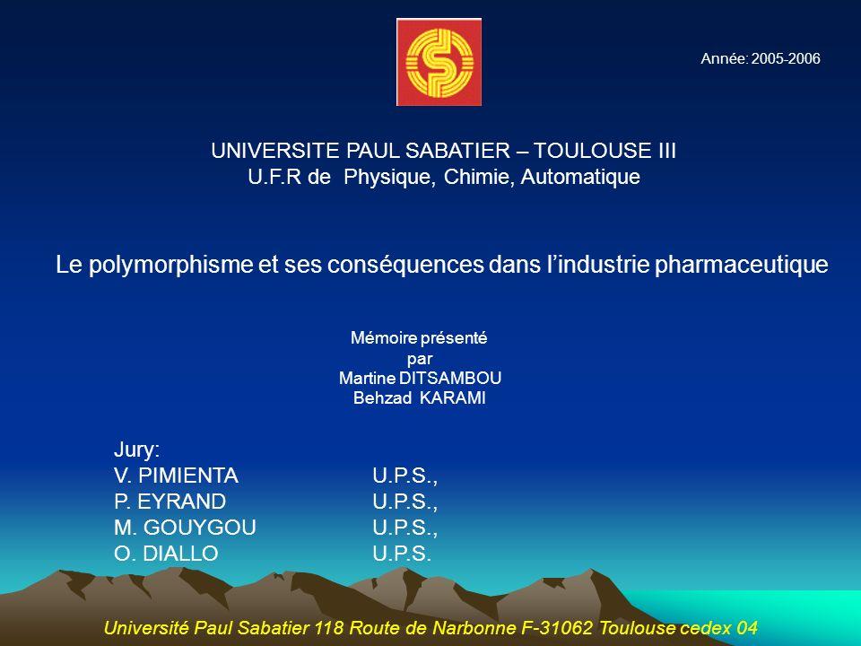 Le polymorphisme et ses conséquences dans l'industrie pharmaceutique