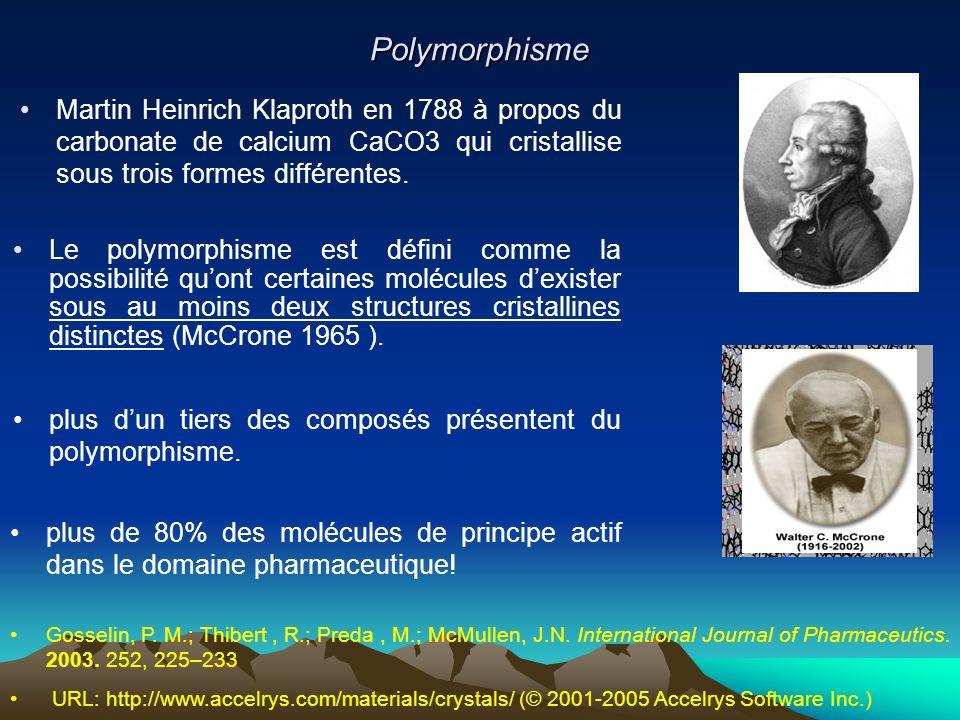 Polymorphisme Martin Heinrich Klaproth en 1788 à propos du carbonate de calcium CaCO3 qui cristallise sous trois formes différentes.