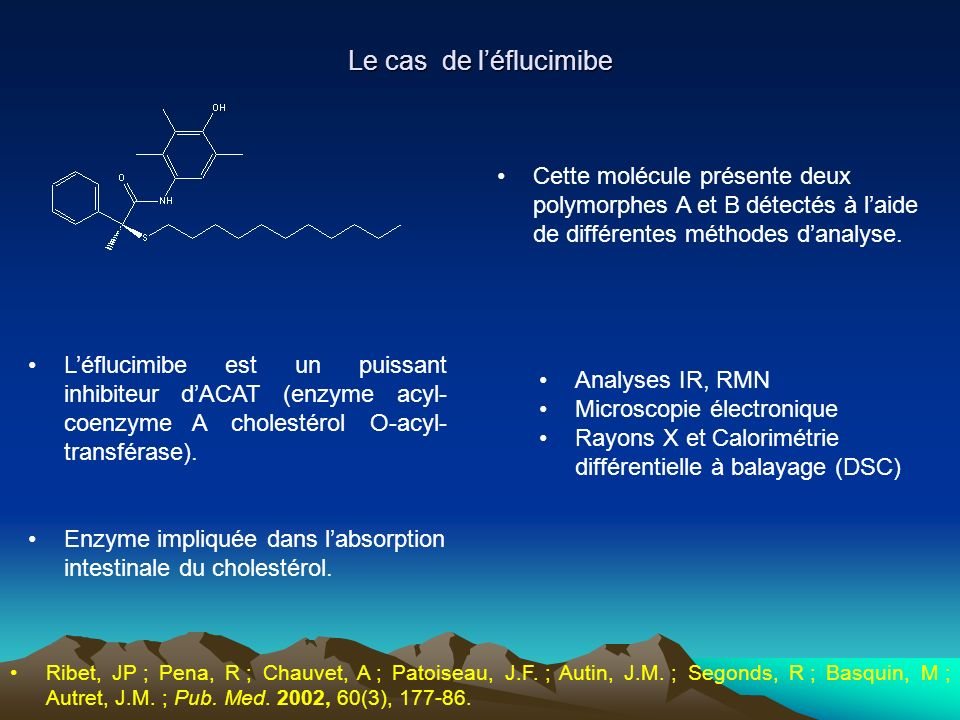 Le cas de l'éflucimibe Cette molécule présente deux polymorphes A et B détectés à l'aide de différentes méthodes d'analyse.
