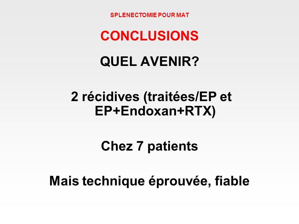 2 récidives (traitées/EP et EP+Endoxan+RTX)