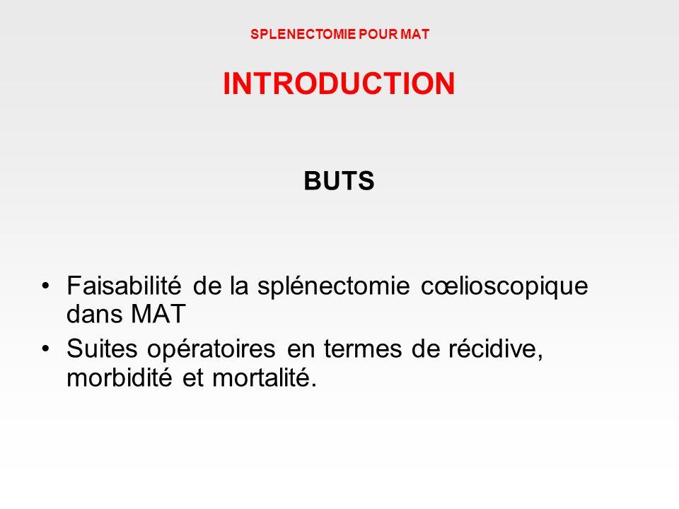 SPLENECTOMIE POUR MAT INTRODUCTION. BUTS. Faisabilité de la splénectomie cœlioscopique dans MAT.