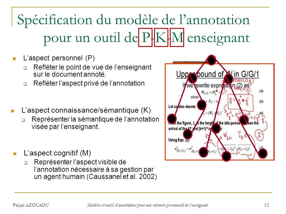 Spécification du modèle de l'annotation pour un outil de P-K-M enseignant