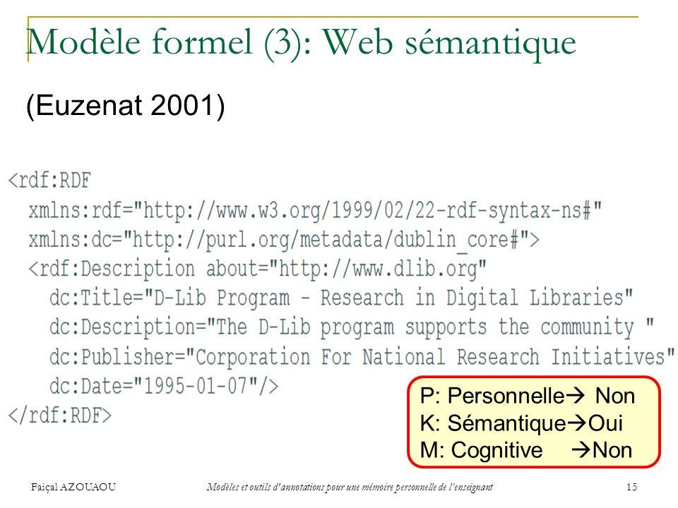 Modèle formel (3): Web sémantique