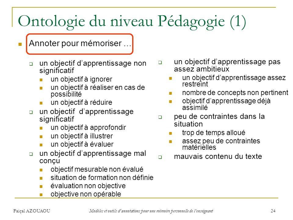 Ontologie du niveau Pédagogie (1)