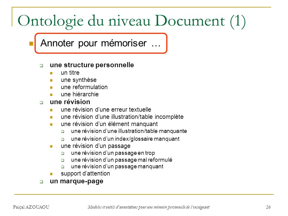 Ontologie du niveau Document (1)