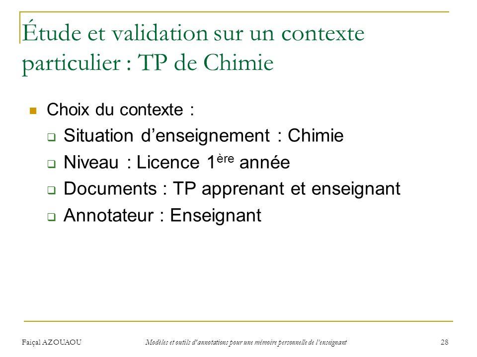 Étude et validation sur un contexte particulier : TP de Chimie