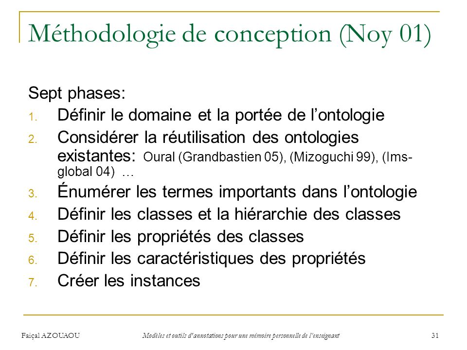 Méthodologie de conception (Noy 01)