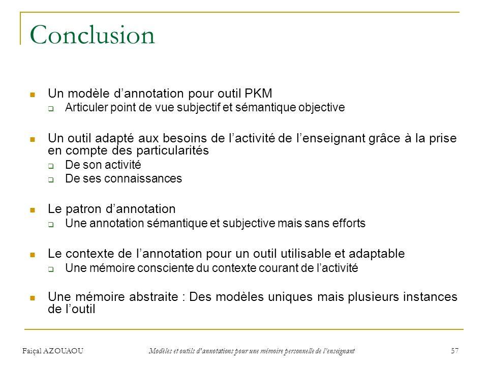 Conclusion Un modèle d'annotation pour outil PKM