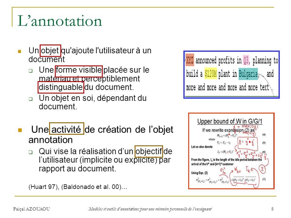 L'annotation Une activité de création de l'objet annotation