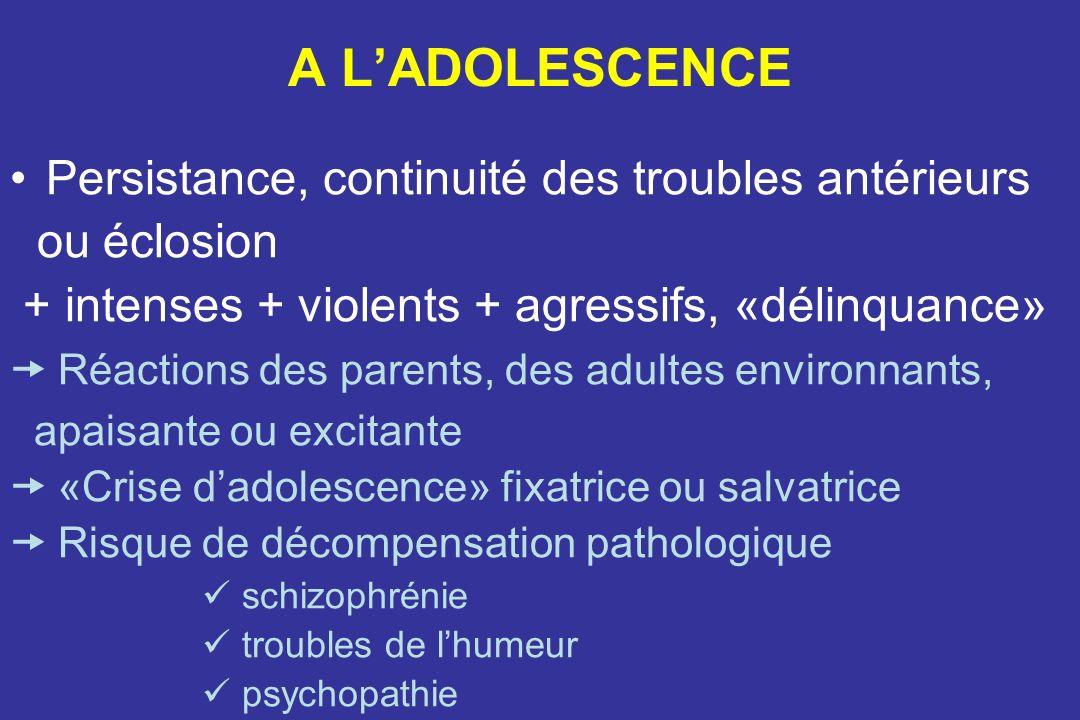 A L'ADOLESCENCE Persistance, continuité des troubles antérieurs