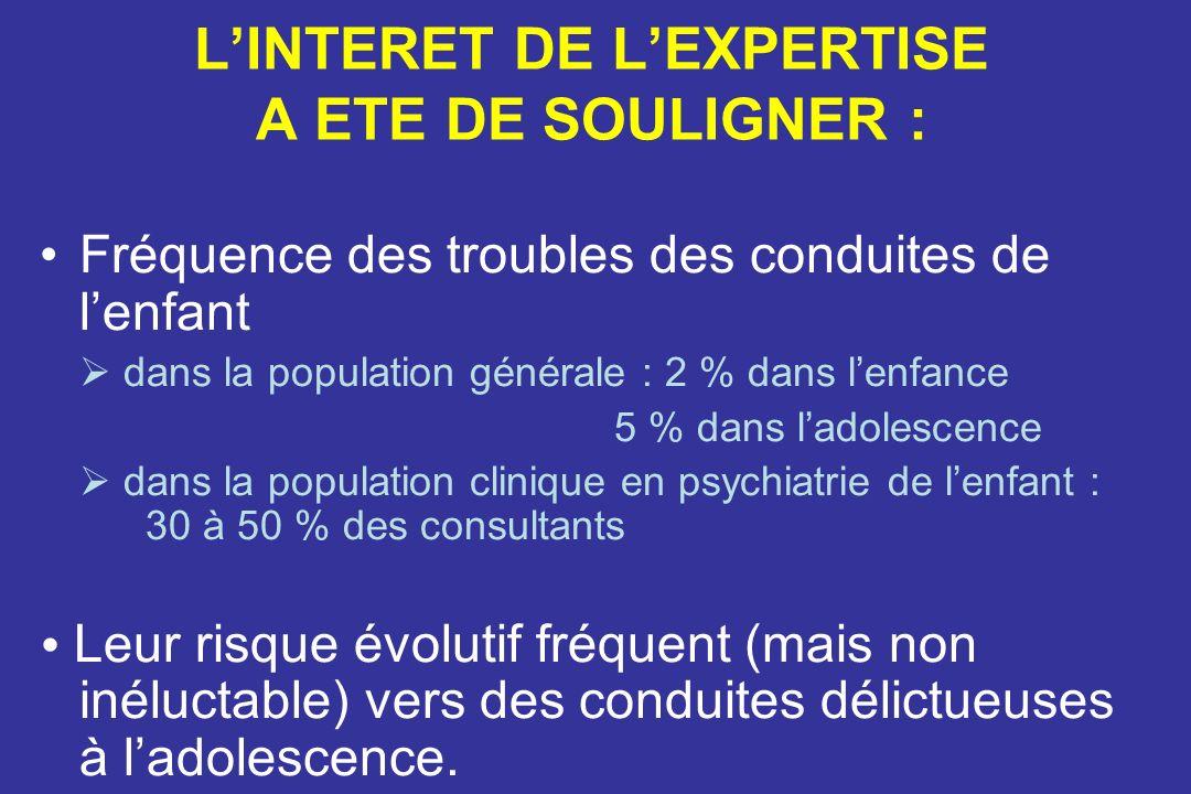 L'INTERET DE L'EXPERTISE A ETE DE SOULIGNER :