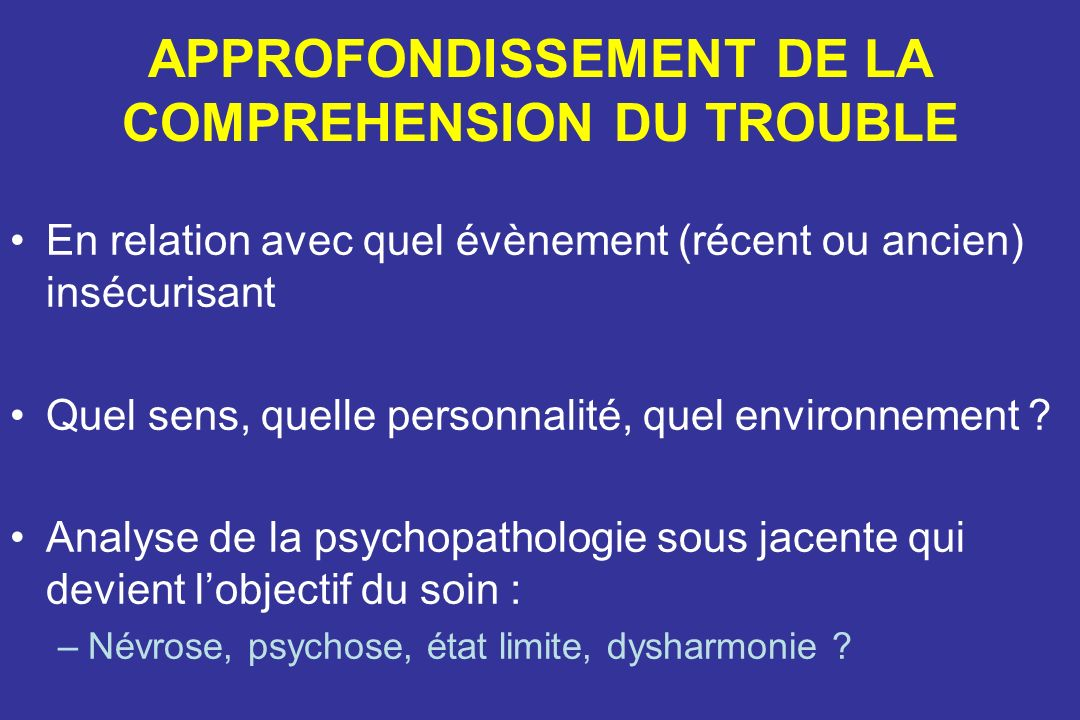APPROFONDISSEMENT DE LA COMPREHENSION DU TROUBLE
