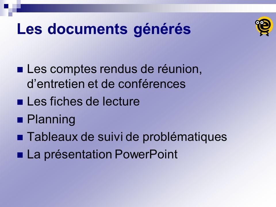 Les documents générés Les comptes rendus de réunion, d'entretien et de conférences. Les fiches de lecture.