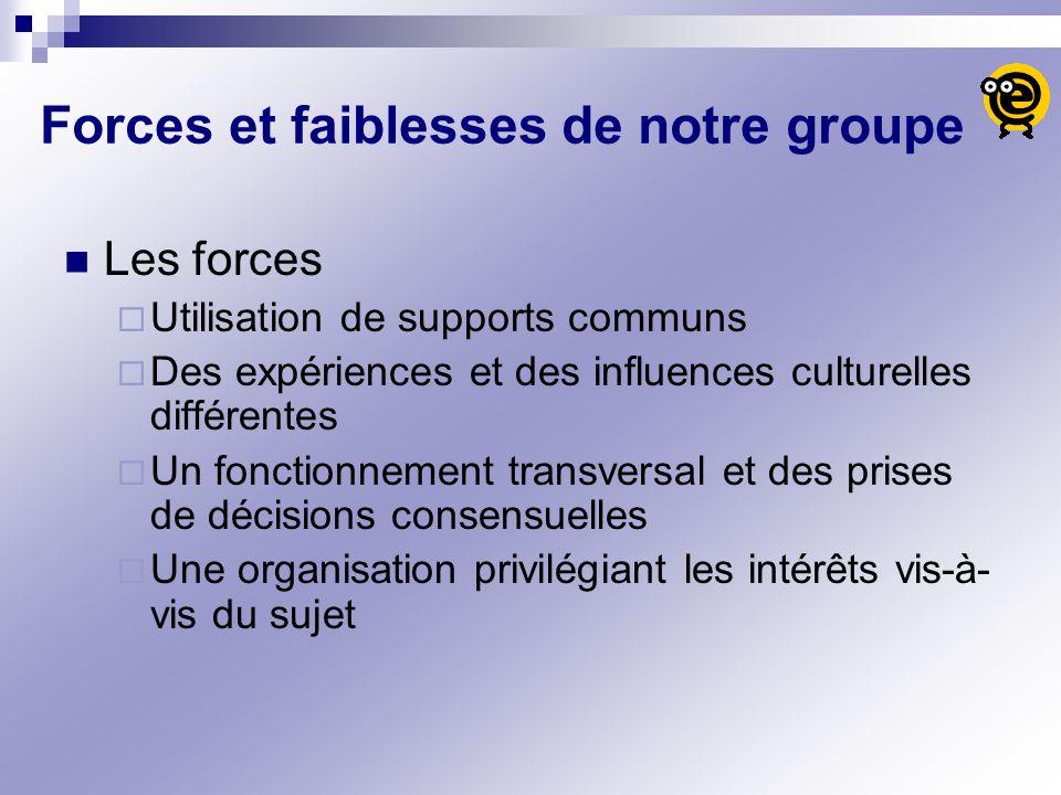 Forces et faiblesses de notre groupe