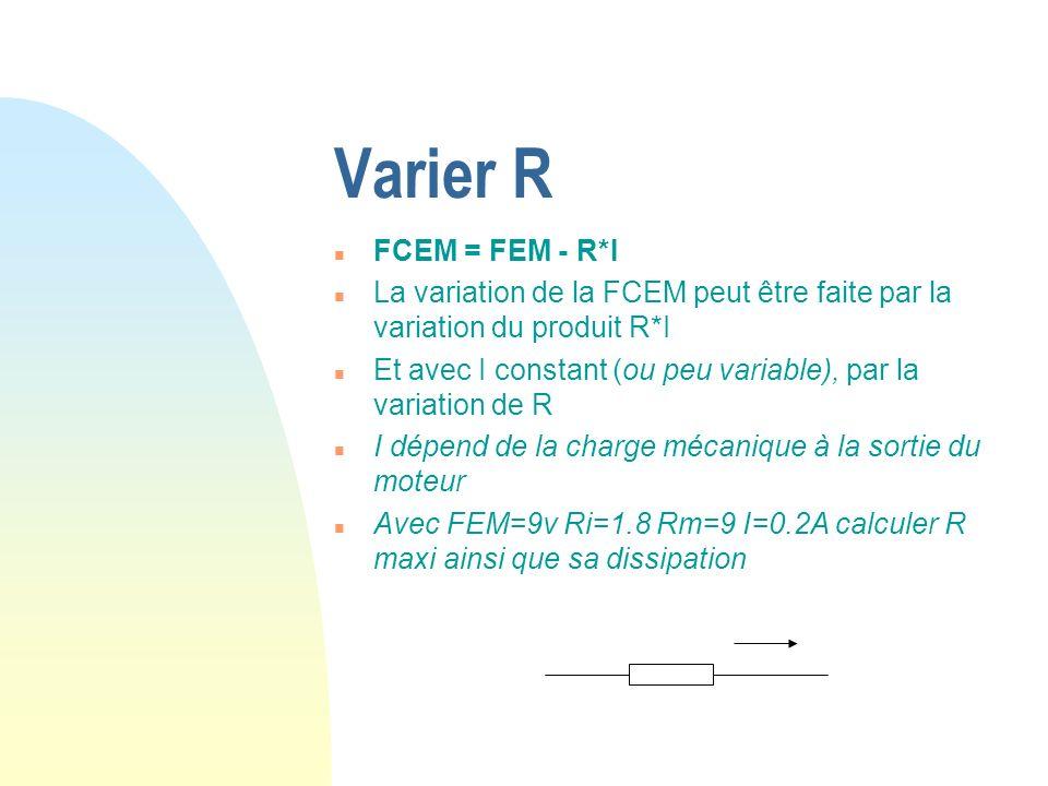 Varier R FCEM = FEM - R*I. La variation de la FCEM peut être faite par la variation du produit R*I.