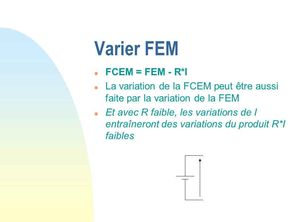 Varier FEM FCEM = FEM - R*I