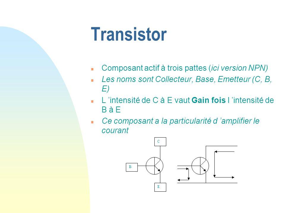 Transistor Composant actif à trois pattes (ici version NPN)