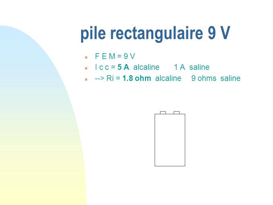 pile rectangulaire 9 V F E M = 9 V I c c = 5 A alcaline 1 A saline
