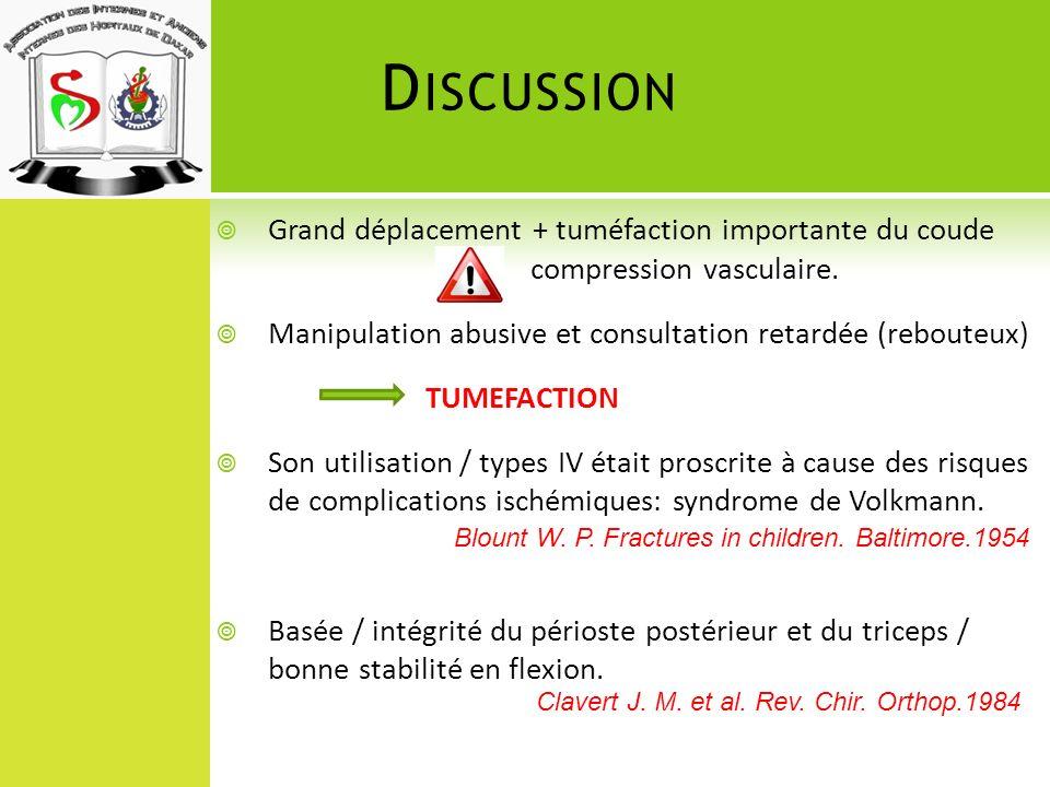 Discussion Grand déplacement + tuméfaction importante du coude compression vasculaire. Manipulation abusive et consultation retardée (rebouteux)