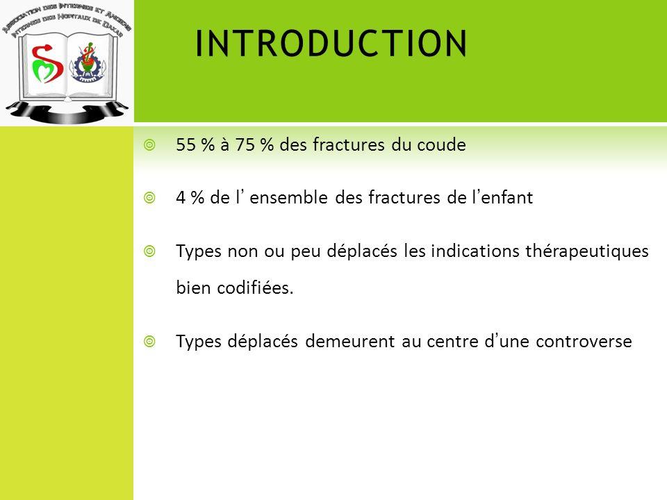 INTRODUCTION 55 % à 75 % des fractures du coude