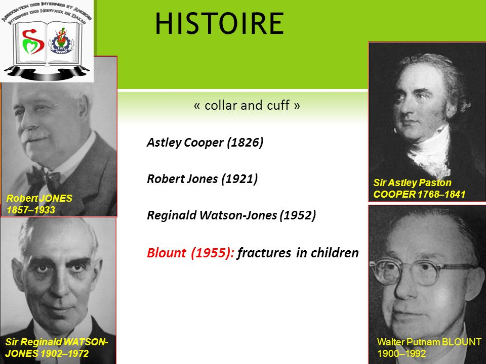 HISTOIRE « collar and cuff » Blount (1955): fractures in children