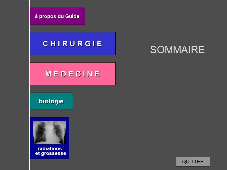 SOMMAIRE C H I R U R G I E M E D E C I N E biologie à propos du Guide