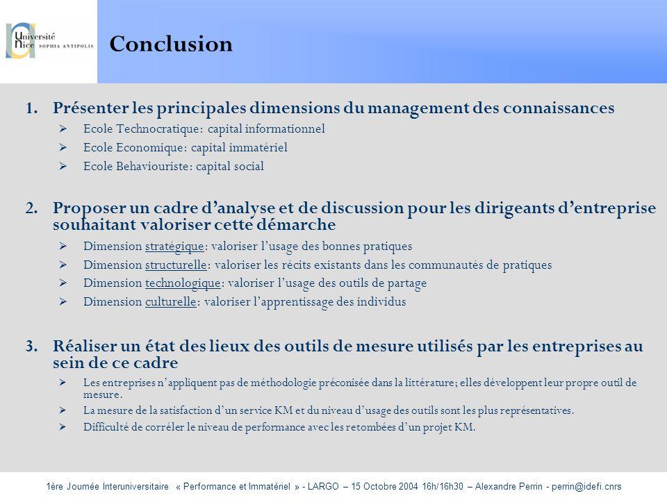 Conclusion Présenter les principales dimensions du management des connaissances. Ecole Technocratique: capital informationnel.