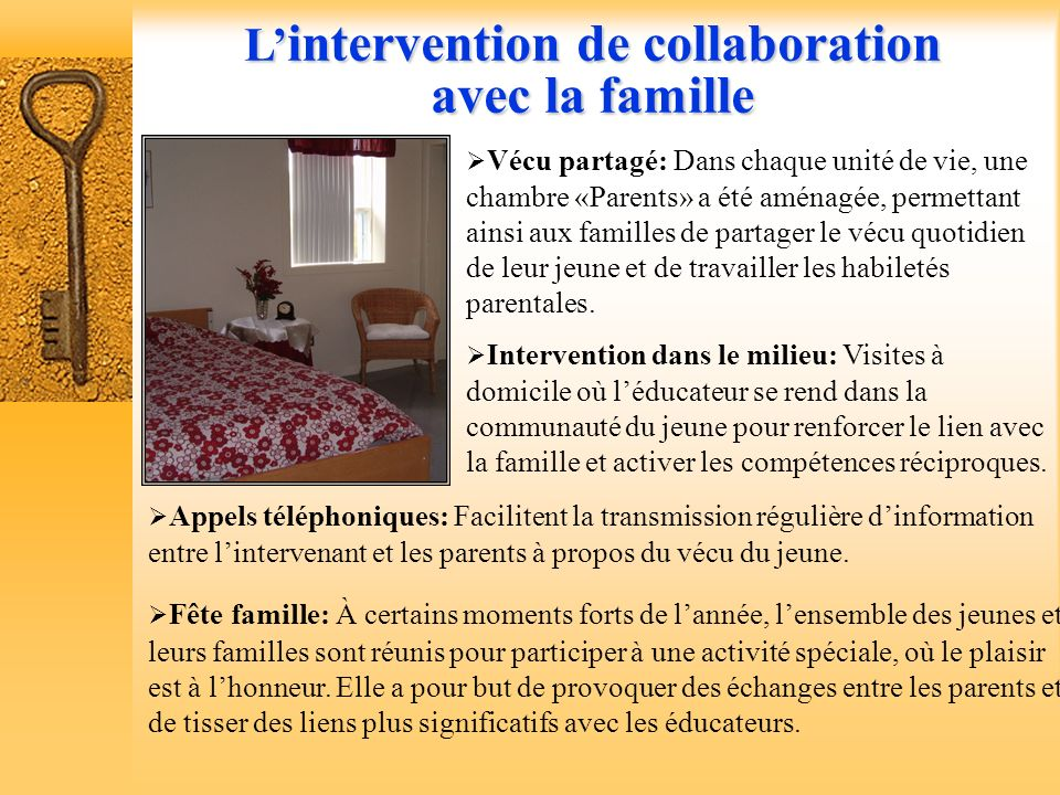 L'intervention de collaboration avec la famille