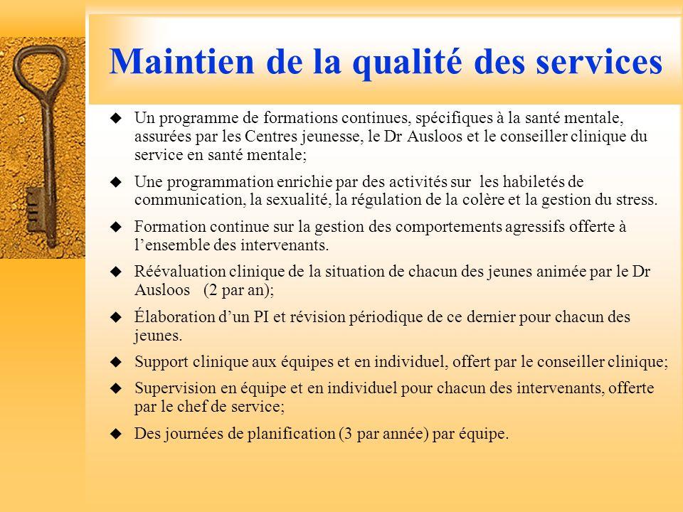 Maintien de la qualité des services