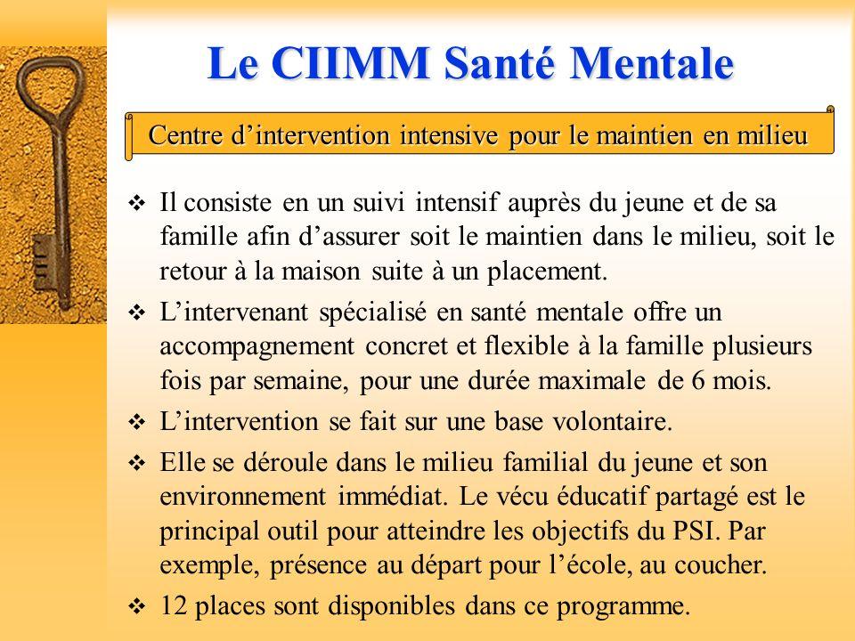 Le CIIMM Santé Mentale Centre d'intervention intensive pour le maintien en milieu.