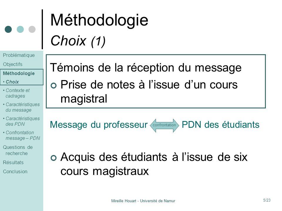 Méthodologie Choix (1) Témoins de la réception du message