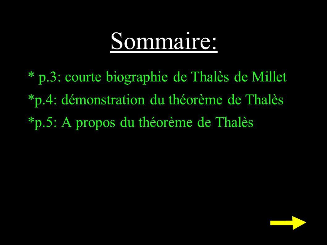 Sommaire: * p.3: courte biographie de Thalès de Millet