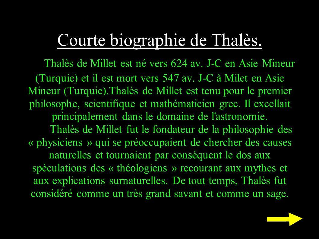 Courte biographie de Thalès.