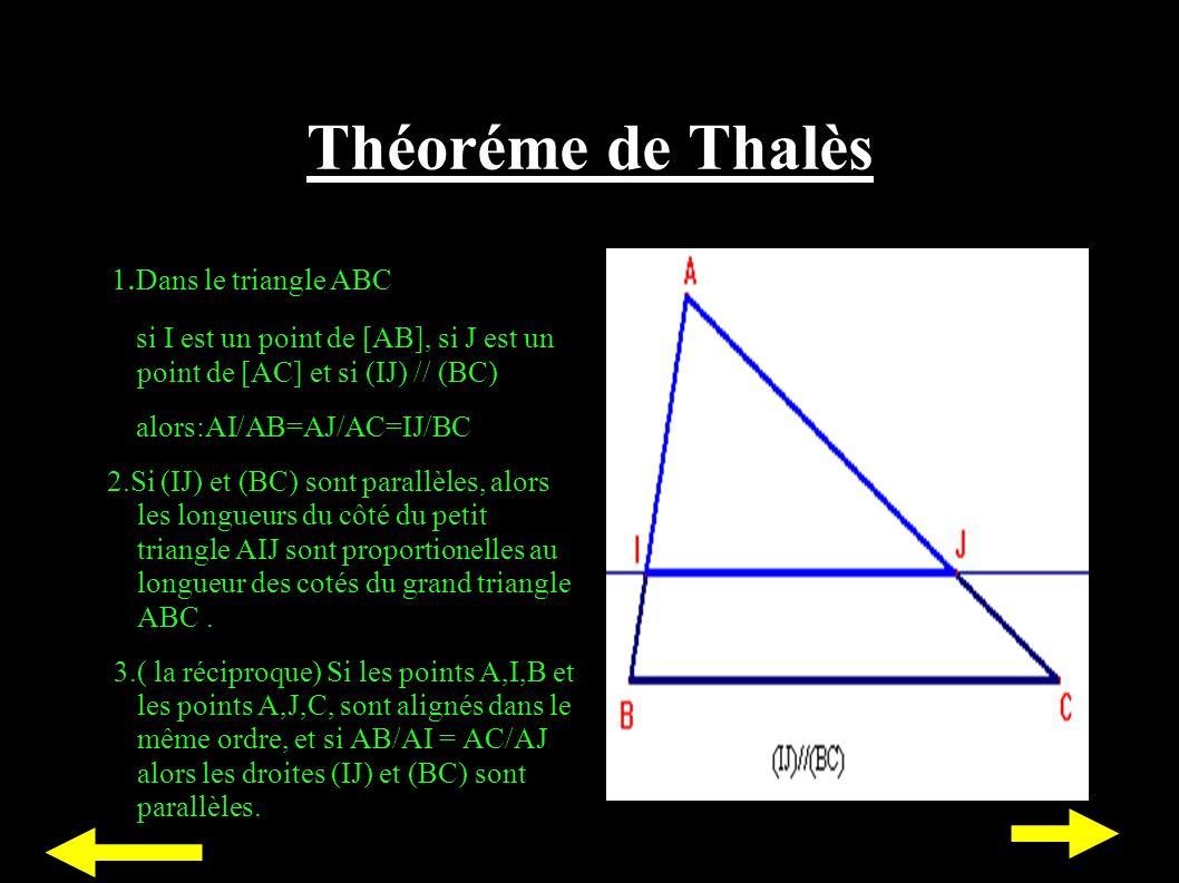 Théoréme de Thalès 1.Dans le triangle ABC