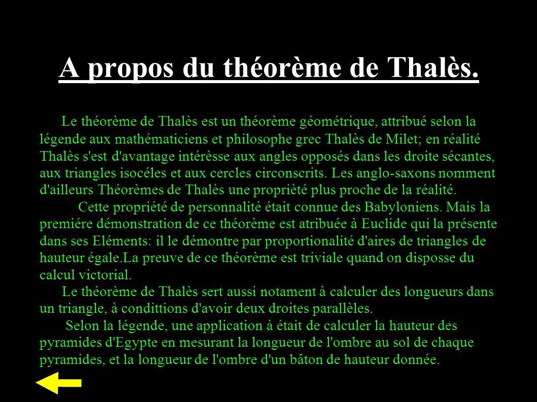 A propos du théorème de Thalès.